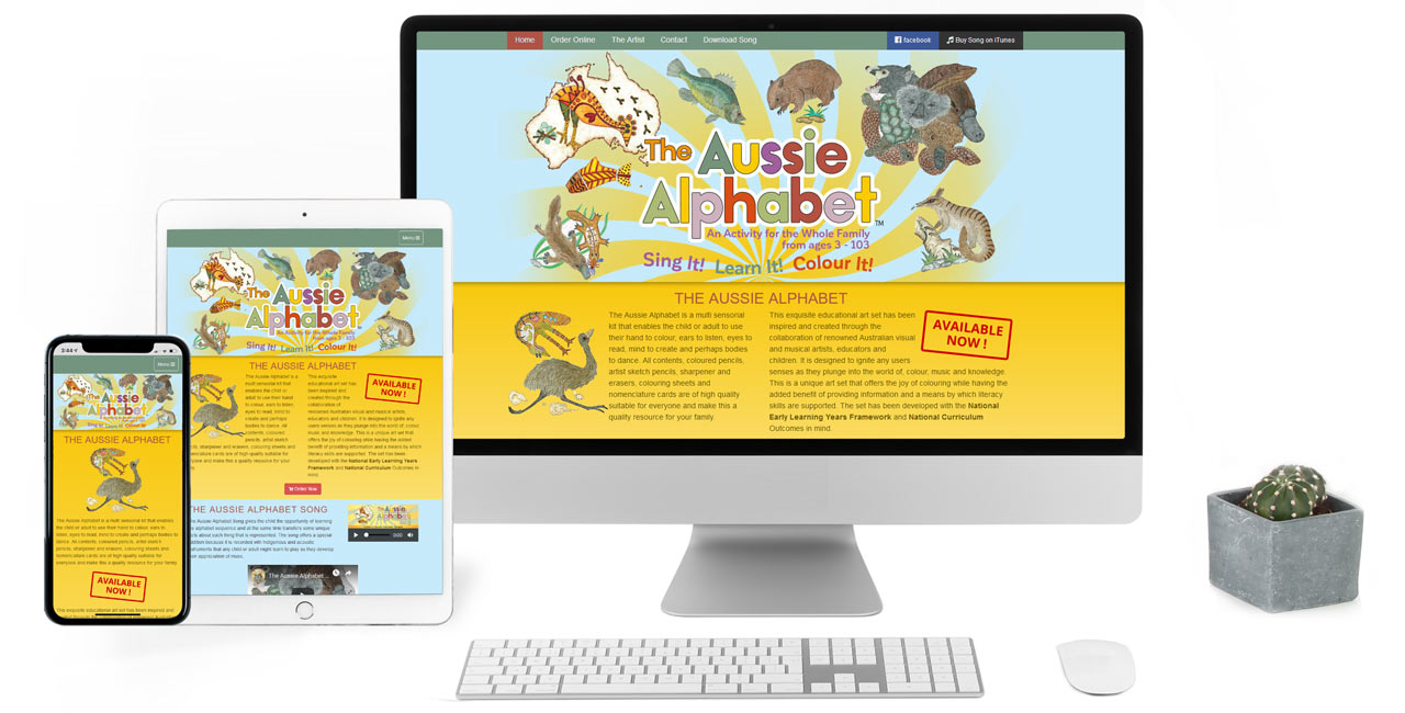Aussie Alphabet, Product website with digital content download - Screenshot