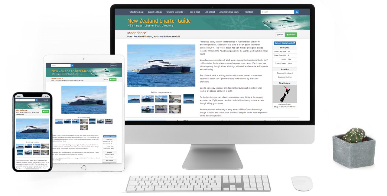 New Zealand Charter Guide, Charter Boat Directory with Listings built on Silverstripe CMS - Screenshot
