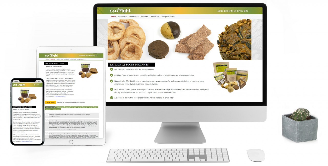 EatRight Foods, Responsive Website with Online Shop & Product Photography - Screenshot