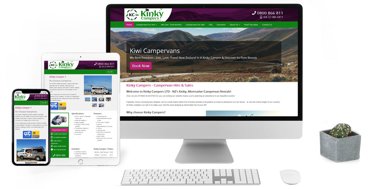 Kinky Campers Van Rental & Sales, Responsive CMS Website with Secure Online Booking - Screenshot