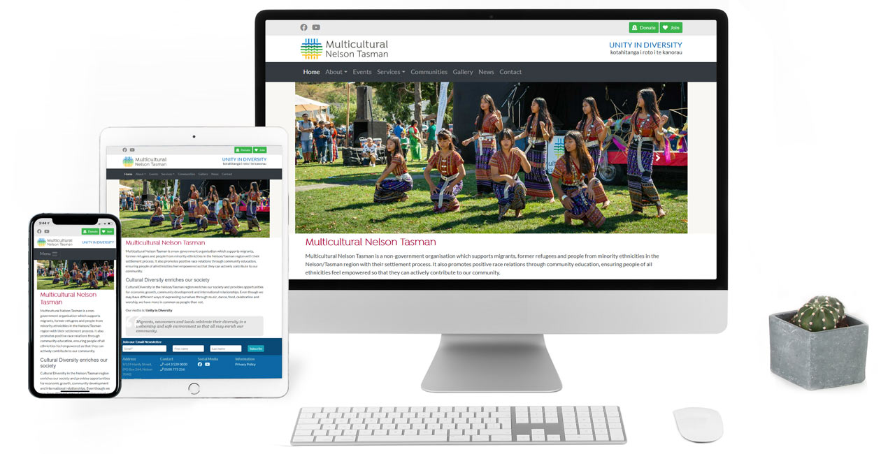 Multicultural Nelson / Tasman, Responsive Website with CMS - Screenshot