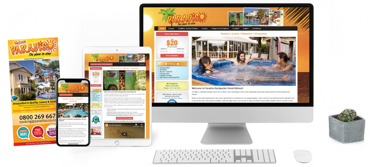 Paradiso Hostel, Responsive Website with CMS, Graphic Design & Location Photography - Screenshot