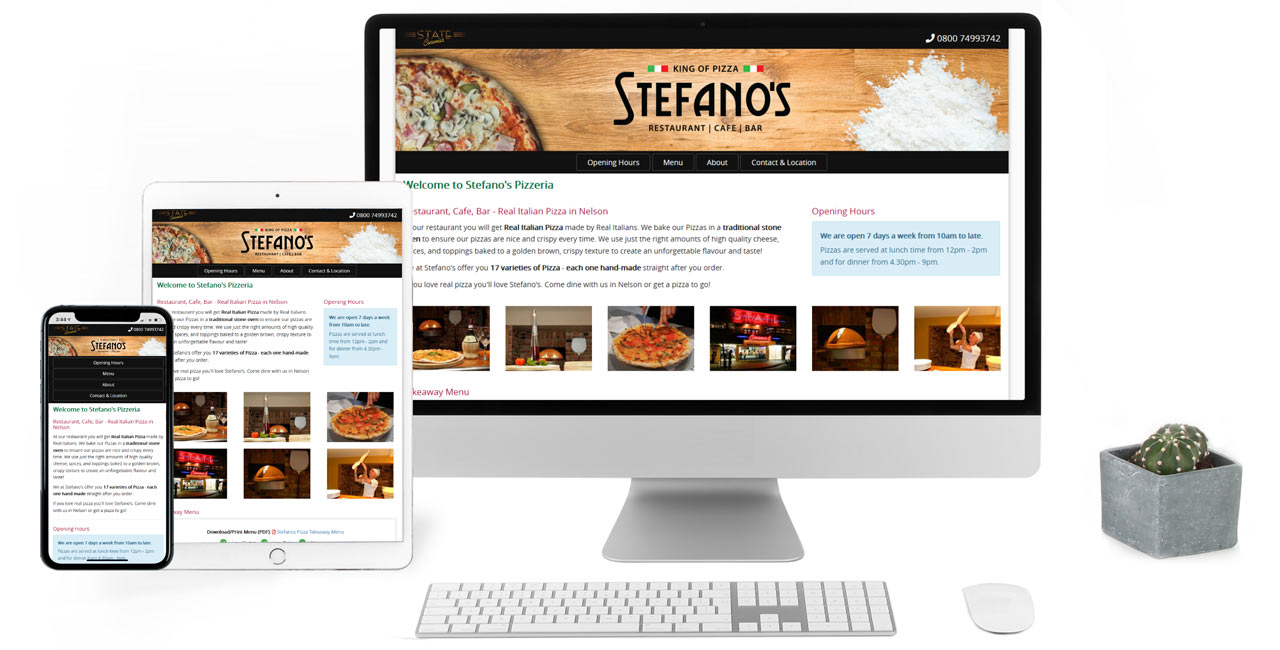 Stefano's Pizzeria, Responsive One Page Website - Screenshot