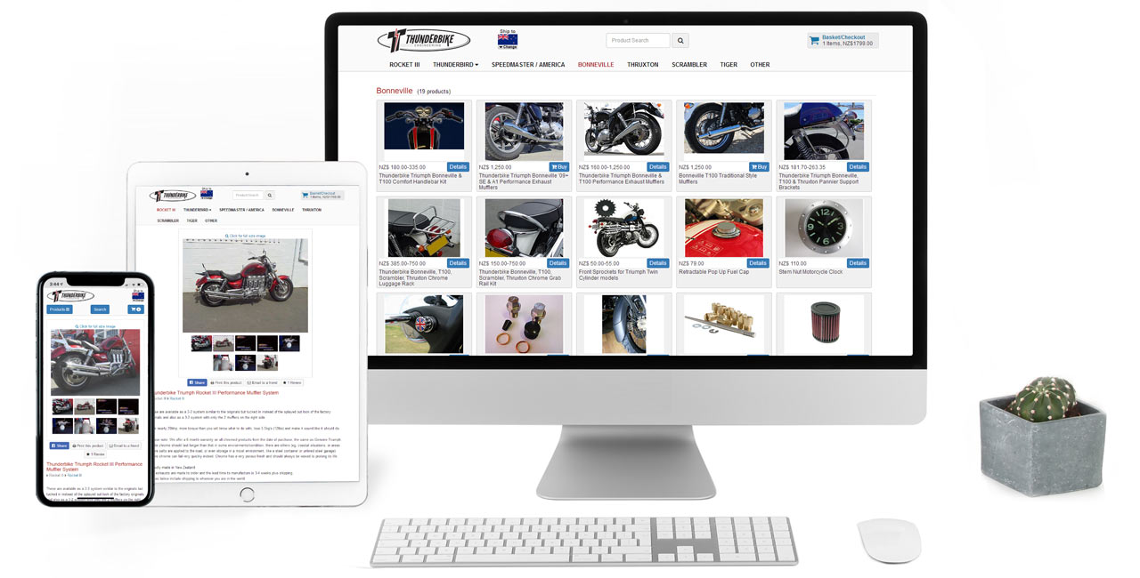 Thunderbike Engineering, Responsive Website & Online Shop - Screenshot