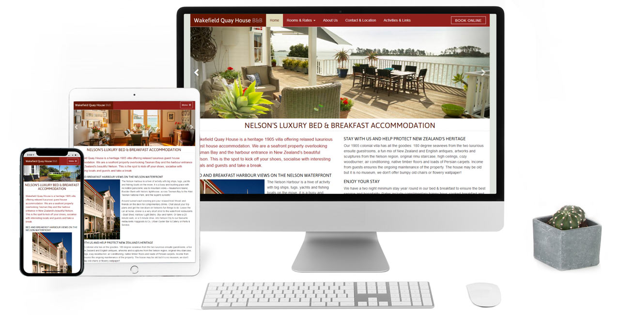 Wakefield Quay House B&B, Responsive Website & Location Photography - Screenshot